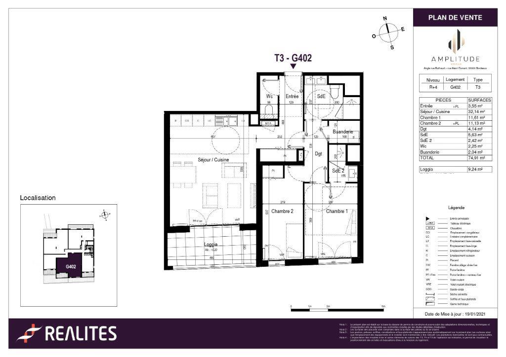 Appartement à vendre 74.91m2 à Bordeaux