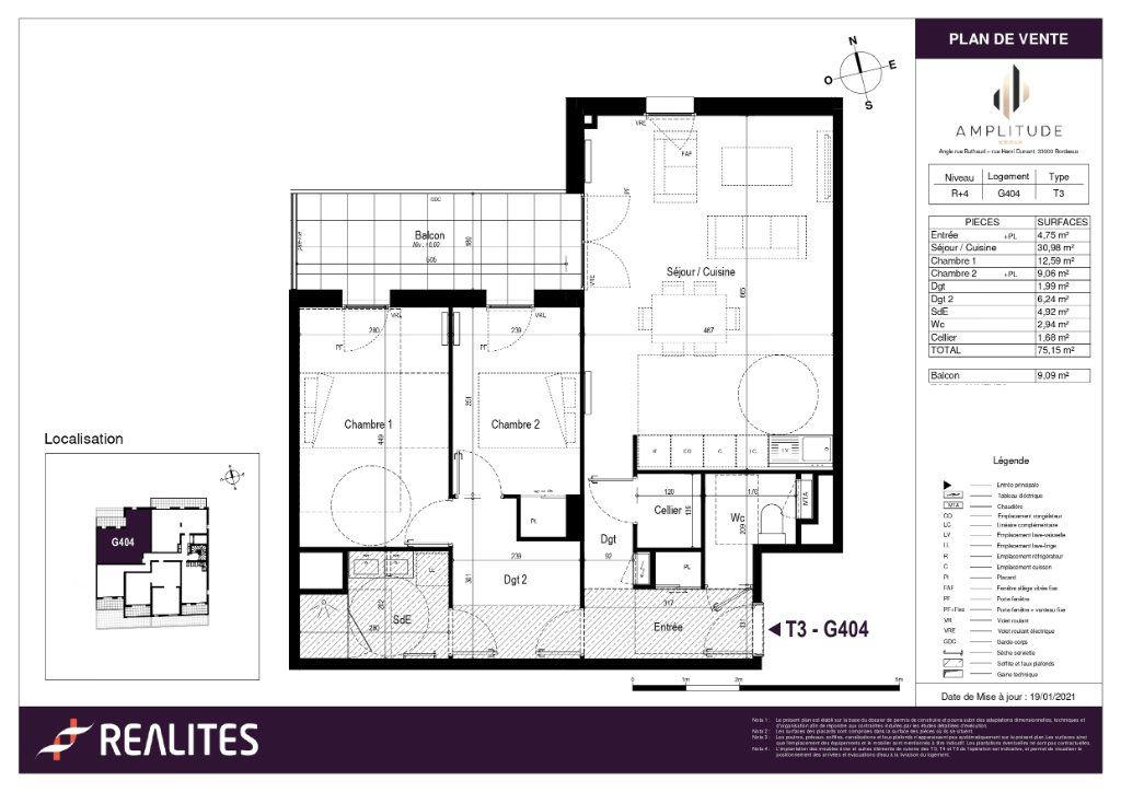 Appartement à vendre 75.15m2 à Bordeaux