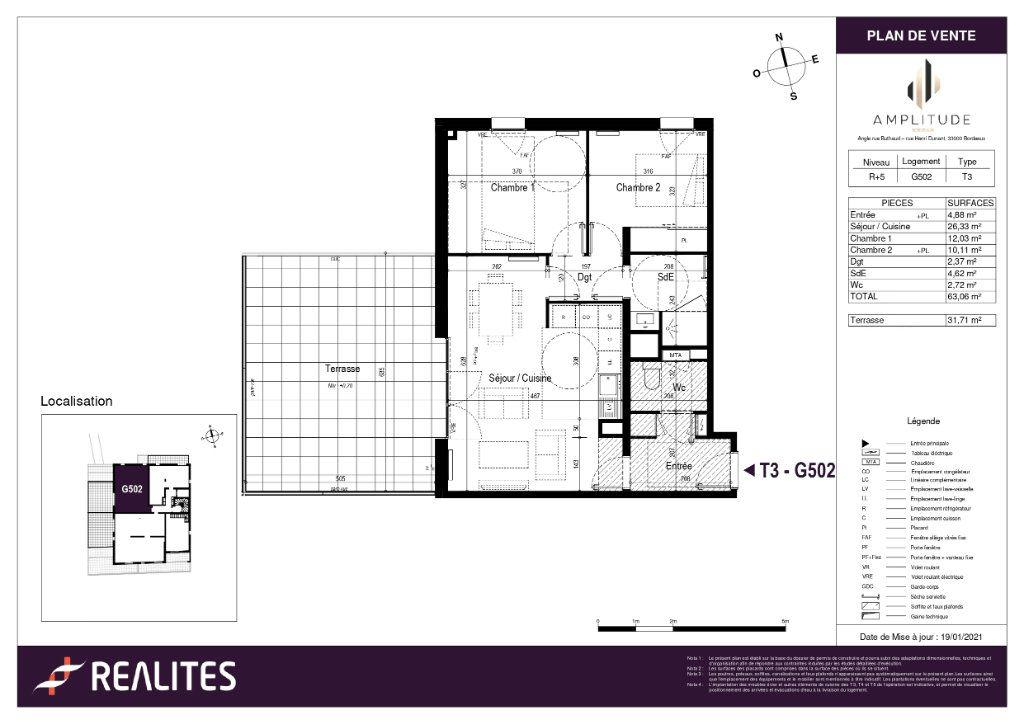 Appartement à vendre 3 63.06m2 à Bordeaux plan-1
