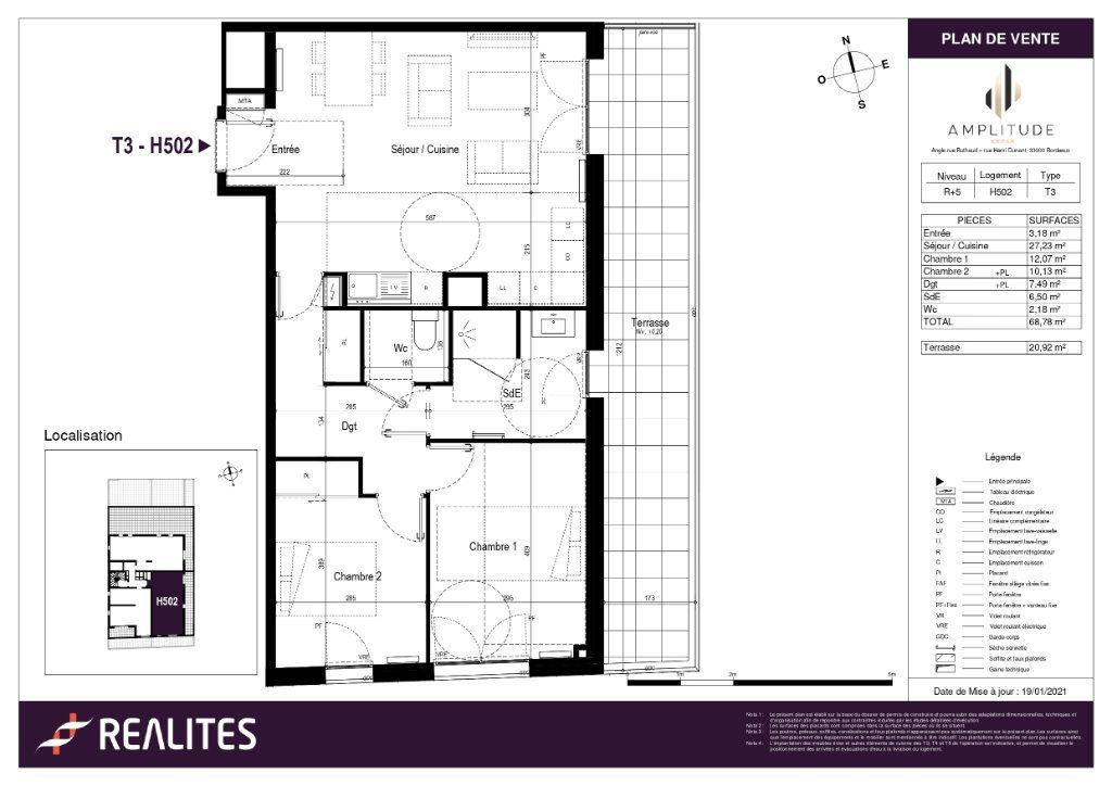 Appartement à vendre 68.78m2 à Bordeaux
