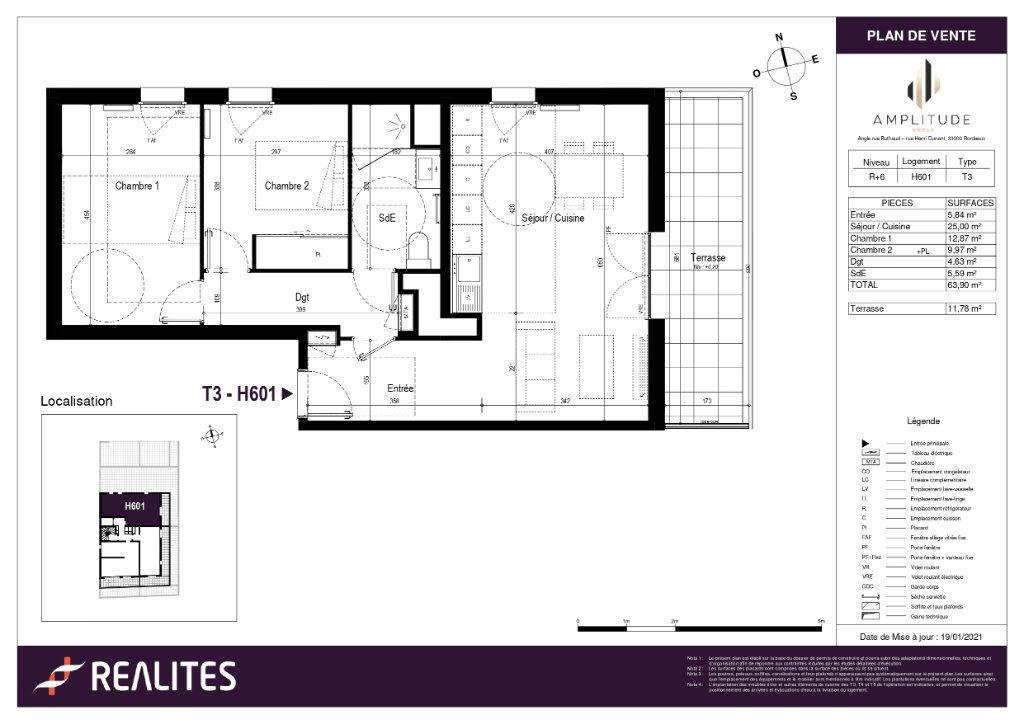 Appartement à vendre 3 63.9m2 à Bordeaux plan-1