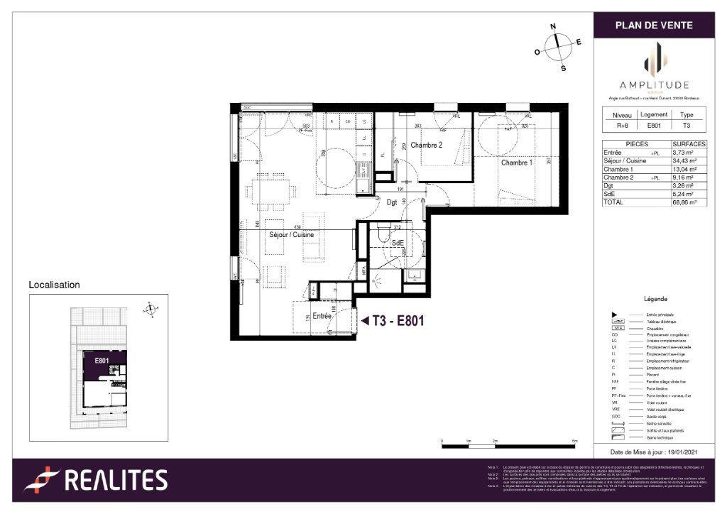 Appartement à vendre 3 68.86m2 à Bordeaux plan-1