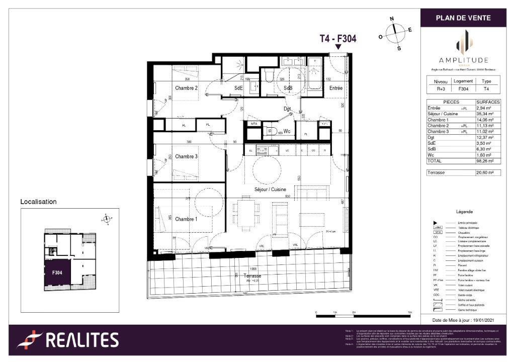 Appartement à vendre 98.26m2 à Bordeaux