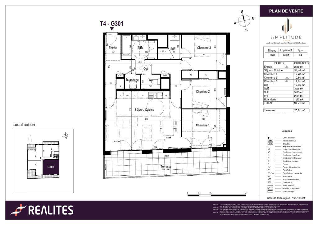 Appartement à vendre 94.71m2 à Bordeaux