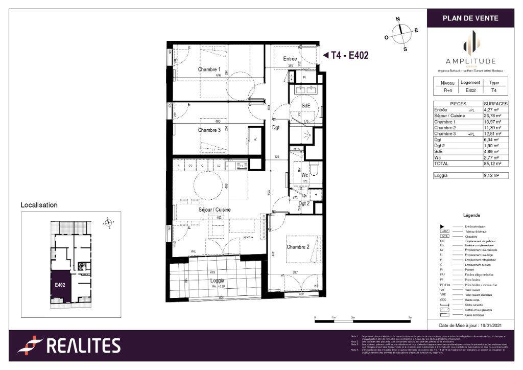 Appartement à vendre 85.12m2 à Bordeaux