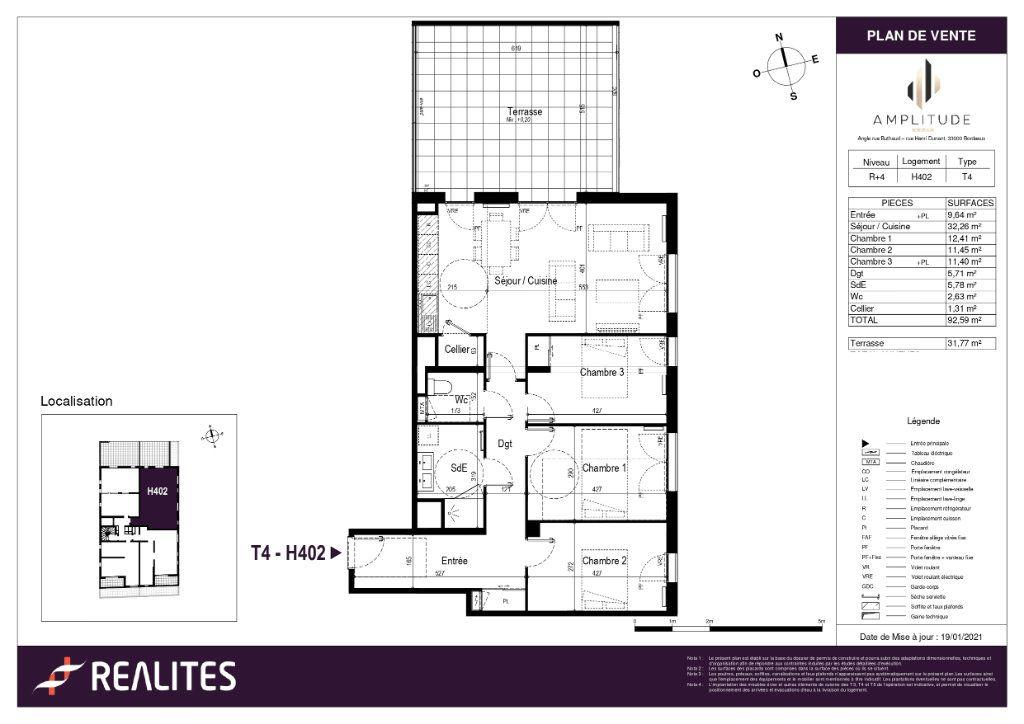 Appartement à vendre 92.59m2 à Bordeaux