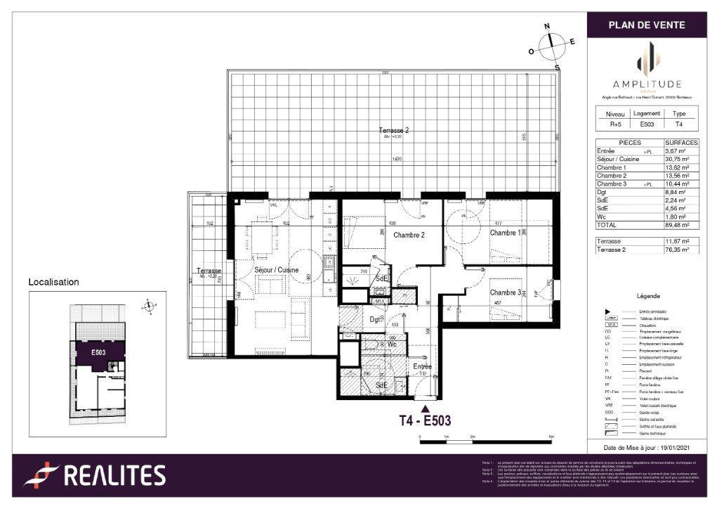 Appartement à vendre 89.48m2 à Bordeaux