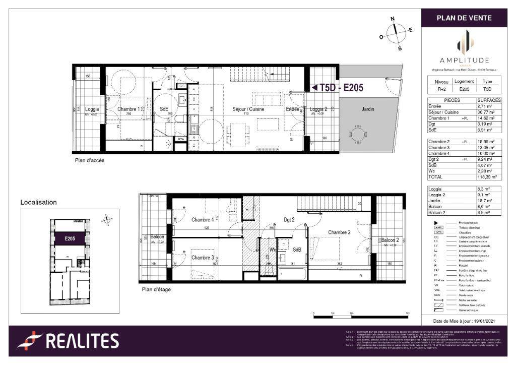 Appartement à vendre 113.39m2 à Bordeaux