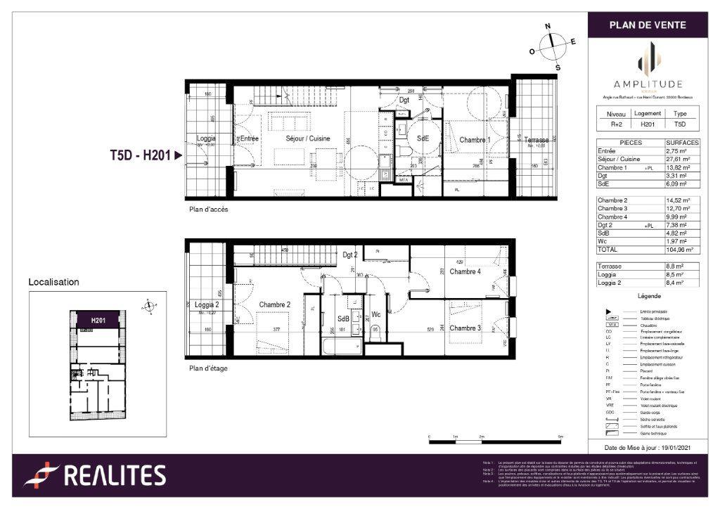 Appartement à vendre 104.96m2 à Bordeaux