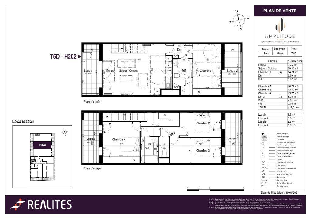 Appartement à vendre 112.51m2 à Bordeaux