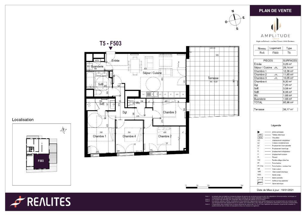 Appartement à vendre 95.96m2 à Bordeaux