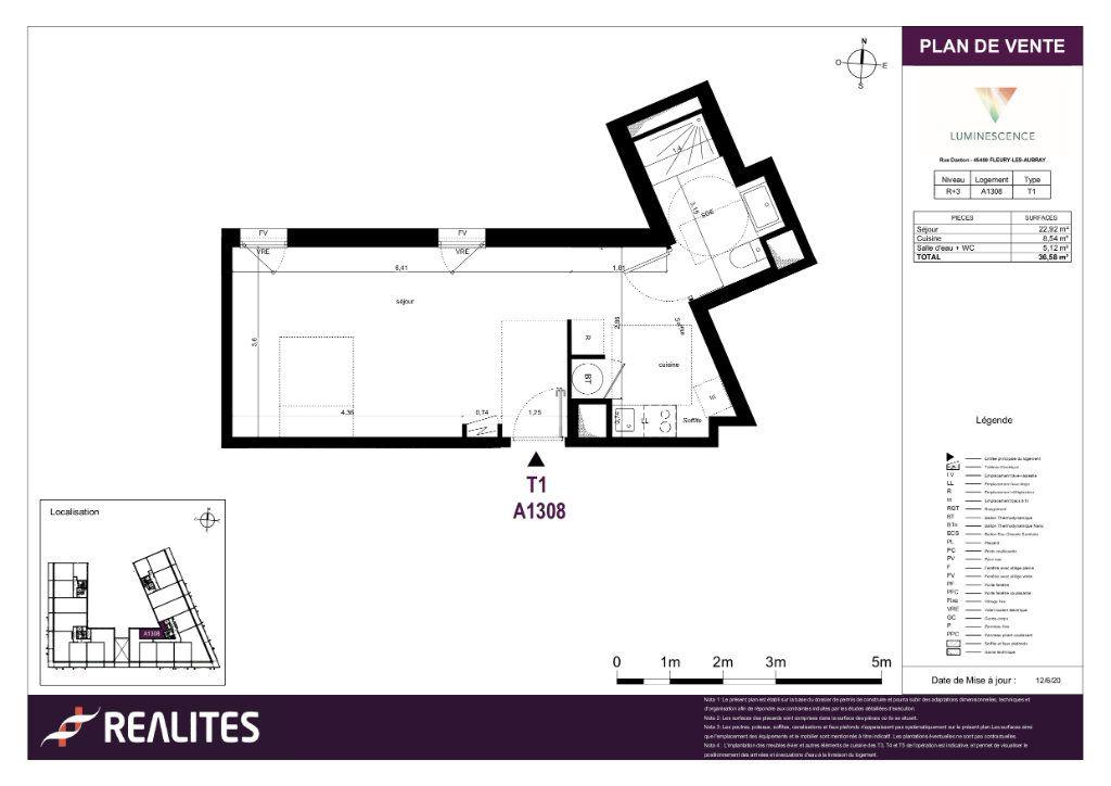 Appartement à vendre 1 36.58m2 à Fleury-les-Aubrais plan-1