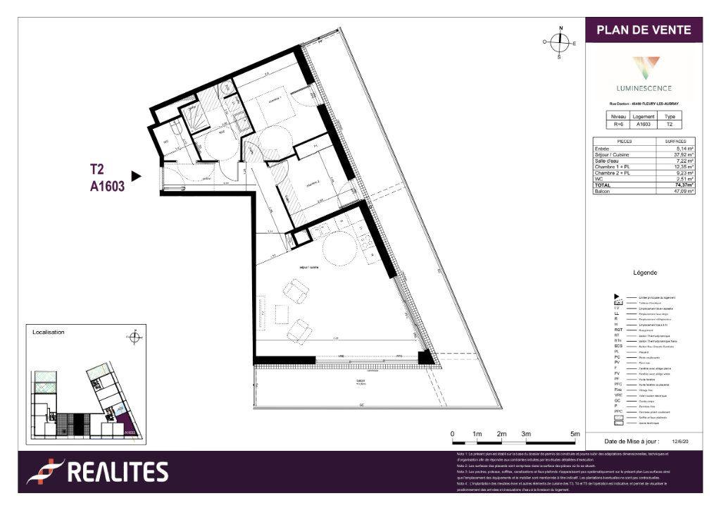 Appartement à vendre 3 74.37m2 à Fleury-les-Aubrais plan-1