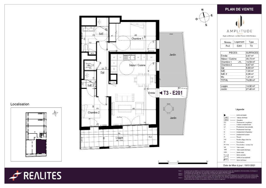 Appartement à vendre 74.37m2 à Bordeaux