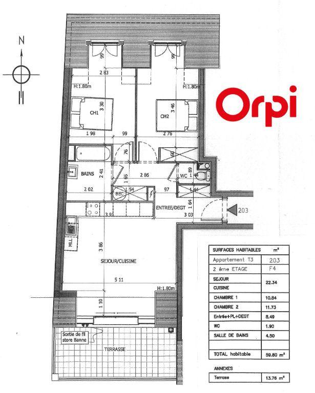 Appartement à vendre 3 59.55m2 à Montévrain plan-1