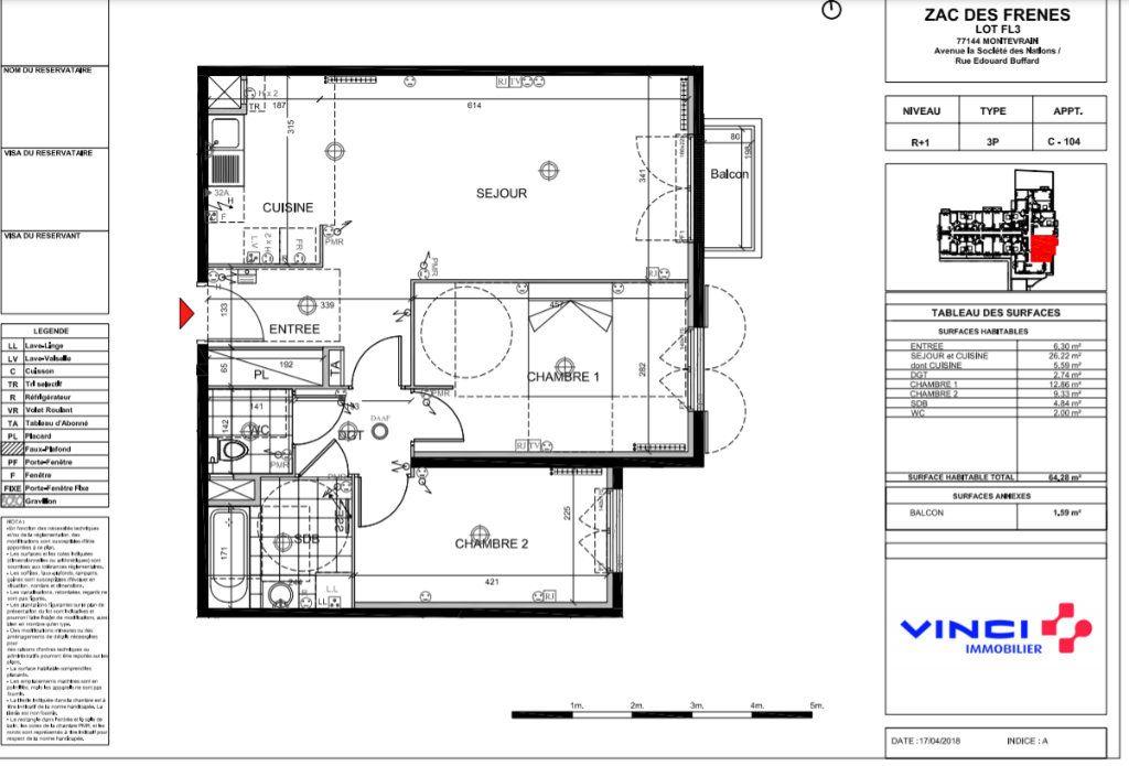 Appartement à louer 3 64.28m2 à Montévrain vignette-7