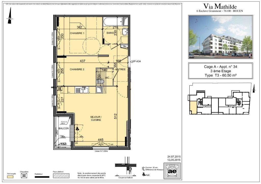 Appartement à louer 3 60.5m2 à Rouen vignette-1