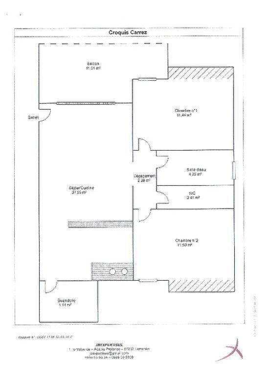 Appartement à vendre 3 63.96m2 à Rivière-Salée plan-1