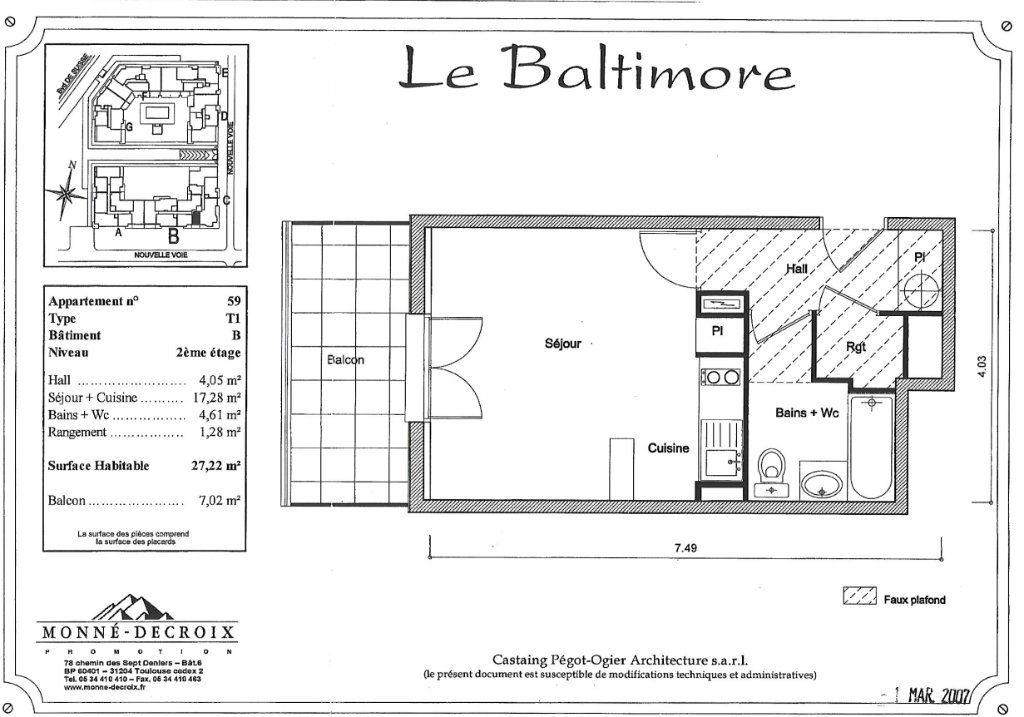 Appartement à vendre 1 27.22m2 à Toulouse plan-1