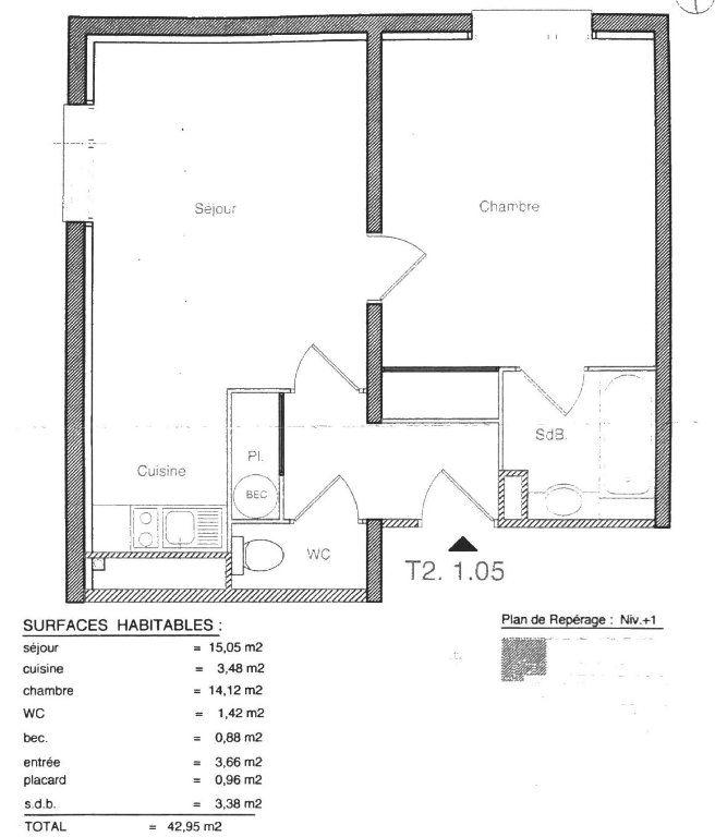 Appartement à vendre 2 42.95m2 à Saint-Denis vignette-1