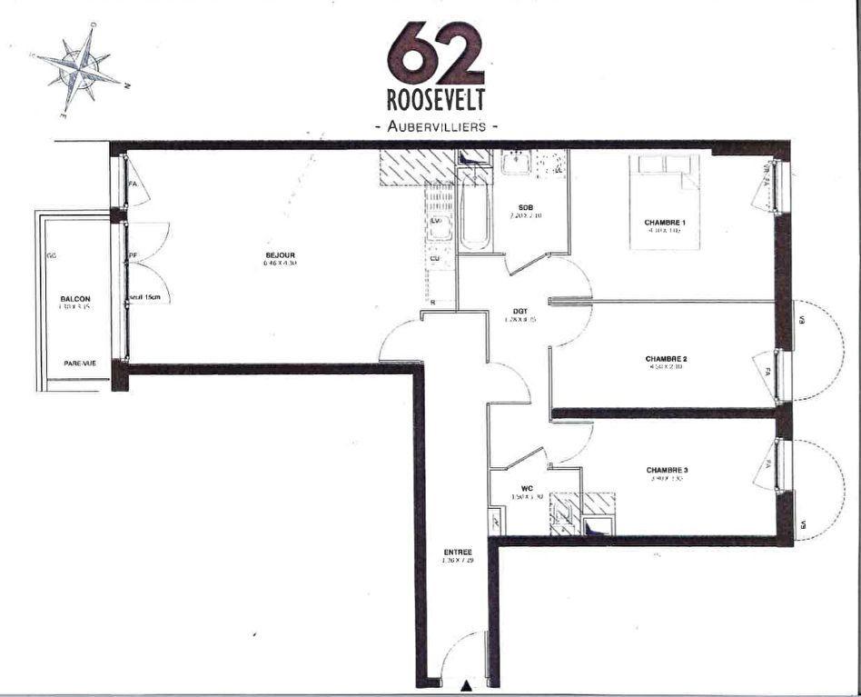Appartement à vendre 4 80.1m2 à Aubervilliers vignette-1