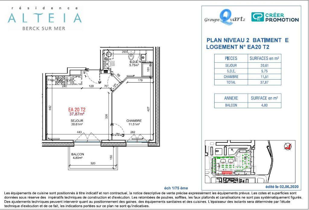 Appartement à vendre 2 37.87m2 à Berck vignette-2