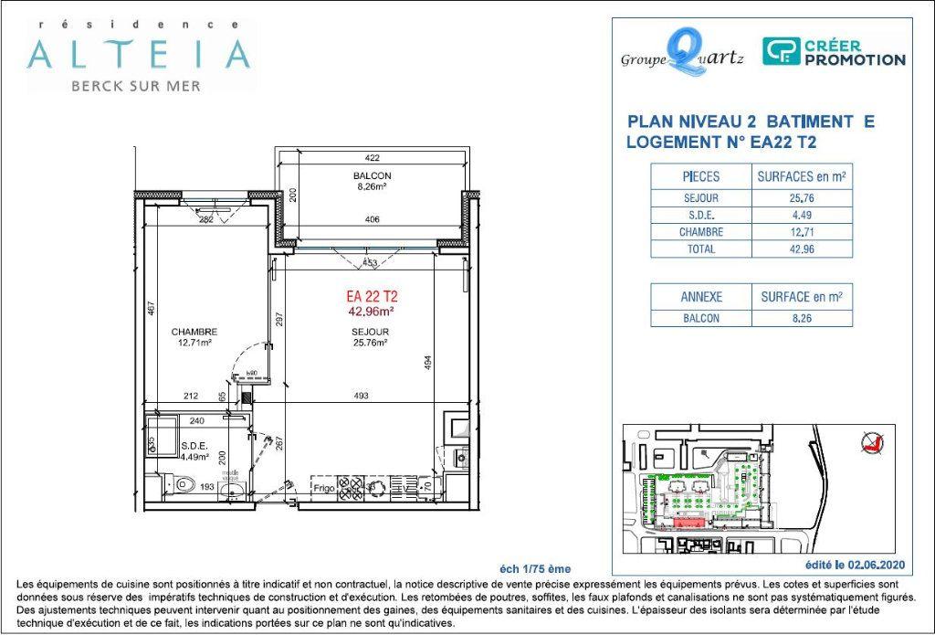Appartement à vendre 2 42.96m2 à Berck vignette-2