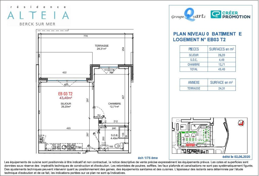 Appartement à vendre 2 43.4m2 à Berck vignette-2