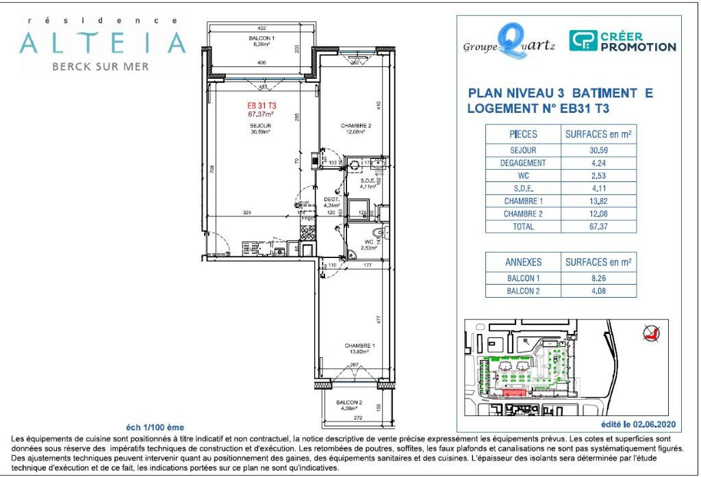 Appartement à vendre 3 67.37m2 à Berck vignette-2
