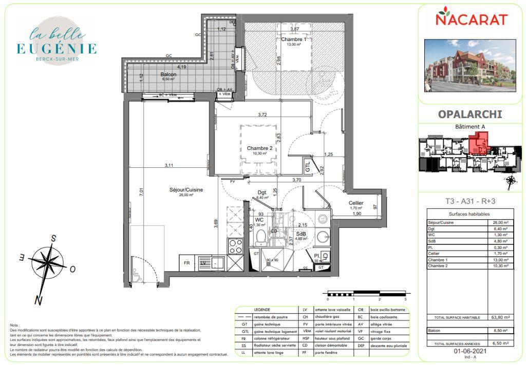 Appartement à vendre 3 63.8m2 à Berck vignette-2