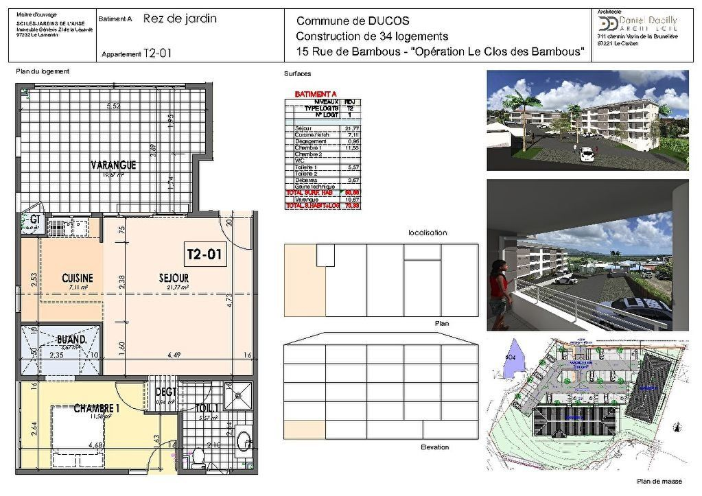 Appartement à vendre 2 50.66m2 à Ducos plan-1