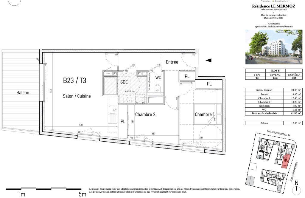 Appartement à vendre 3 62m2 à Saint-Nazaire vignette-3
