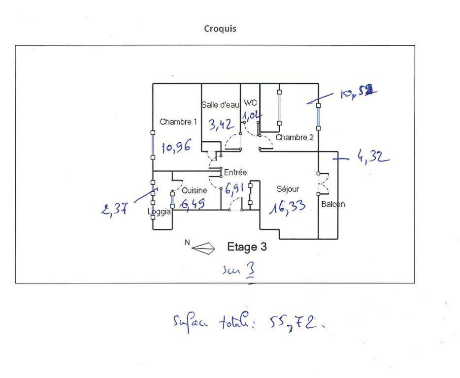Appartement à louer 56.26m2 à Vénissieux