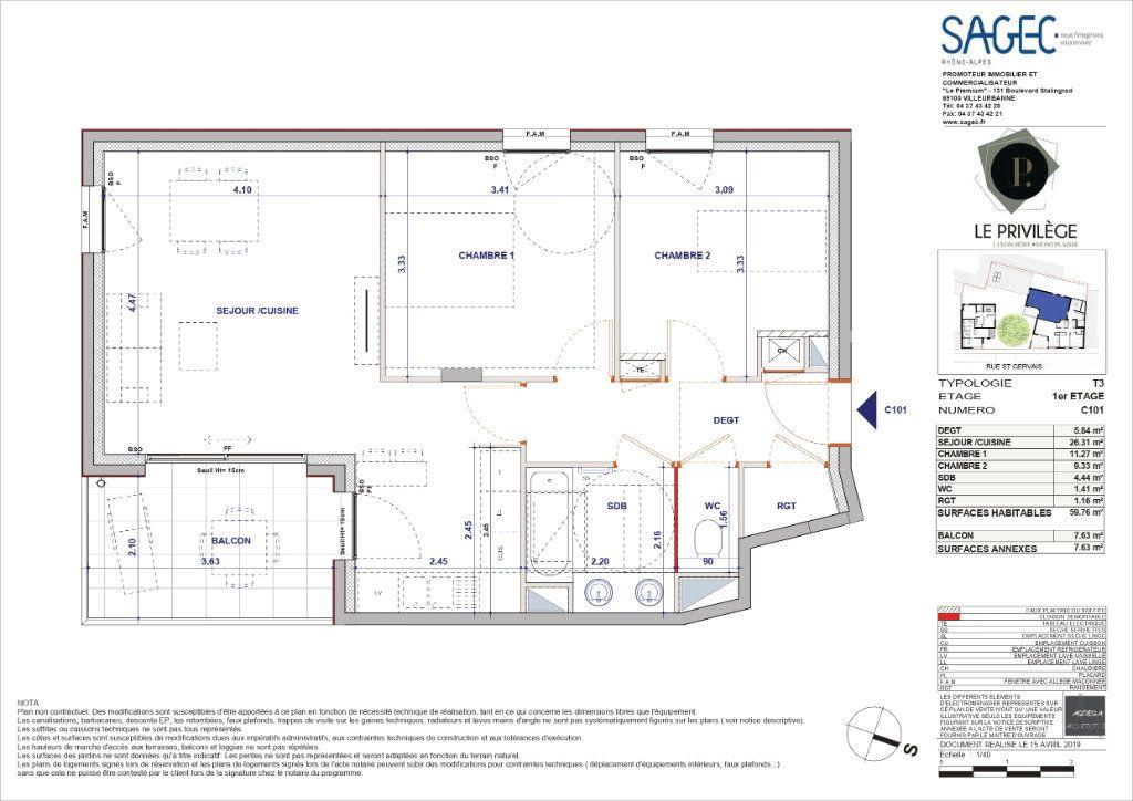 Appartement à vendre 3 59.76m2 à Lyon 8 plan-1