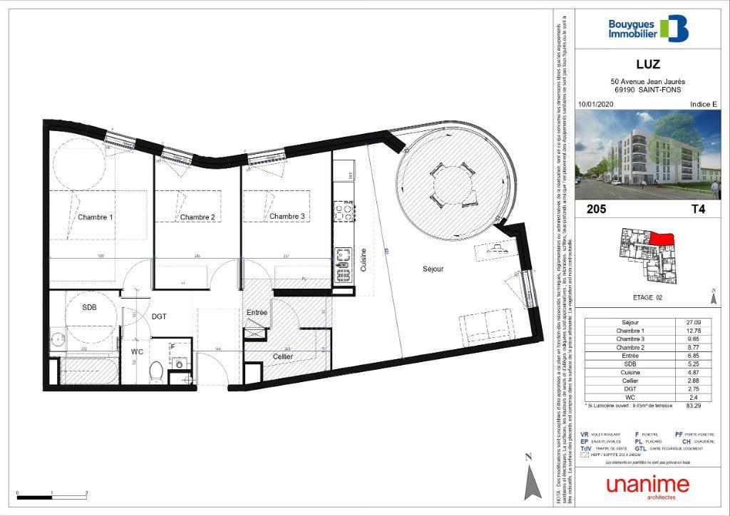Appartement à vendre 4 83.32m2 à Saint-Fons plan-1