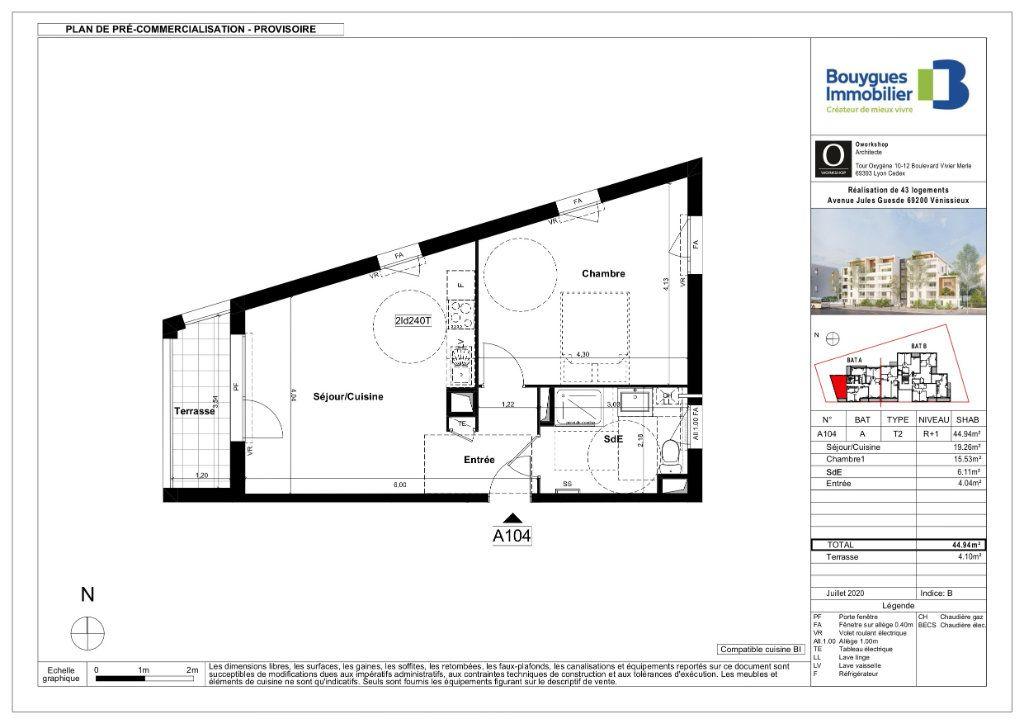 Appartement à vendre 2 44.55m2 à Vénissieux plan-1