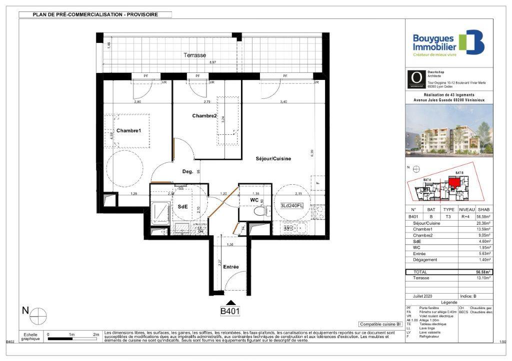 Appartement à vendre 3 56.58m2 à Vénissieux plan-1