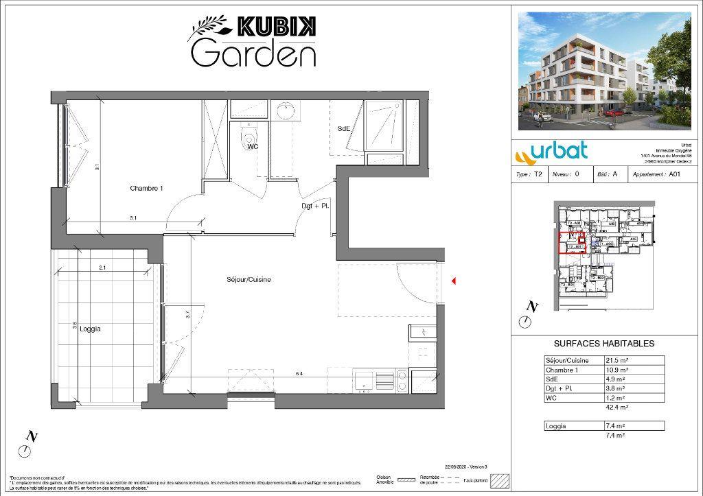 Appartement à vendre 2 42.4m2 à Vénissieux plan-1