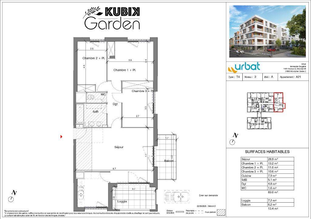 Appartement à vendre 4 83m2 à Vénissieux plan-1