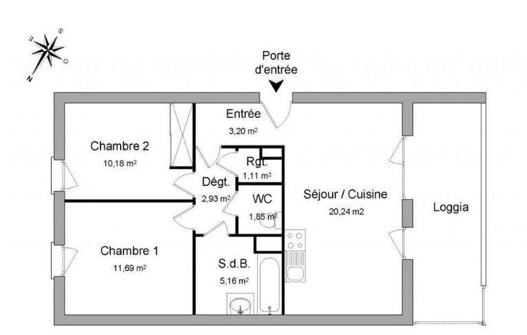 Appartement à vendre 56.36m2 à Vénissieux