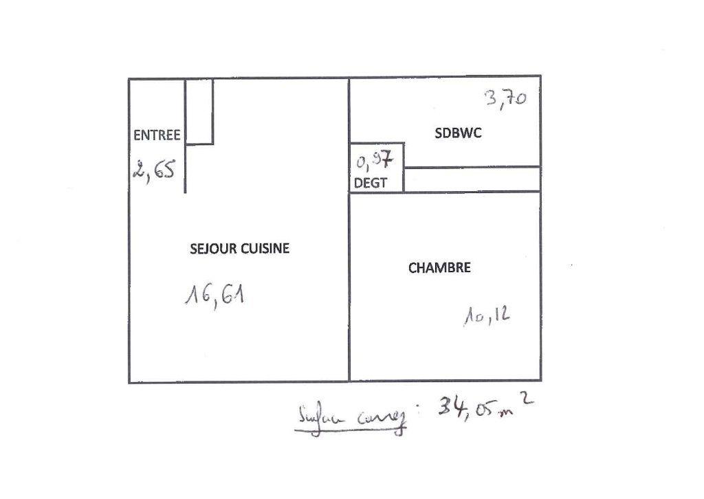 Appartement à louer 2 34.05m2 à Vénissieux plan-1