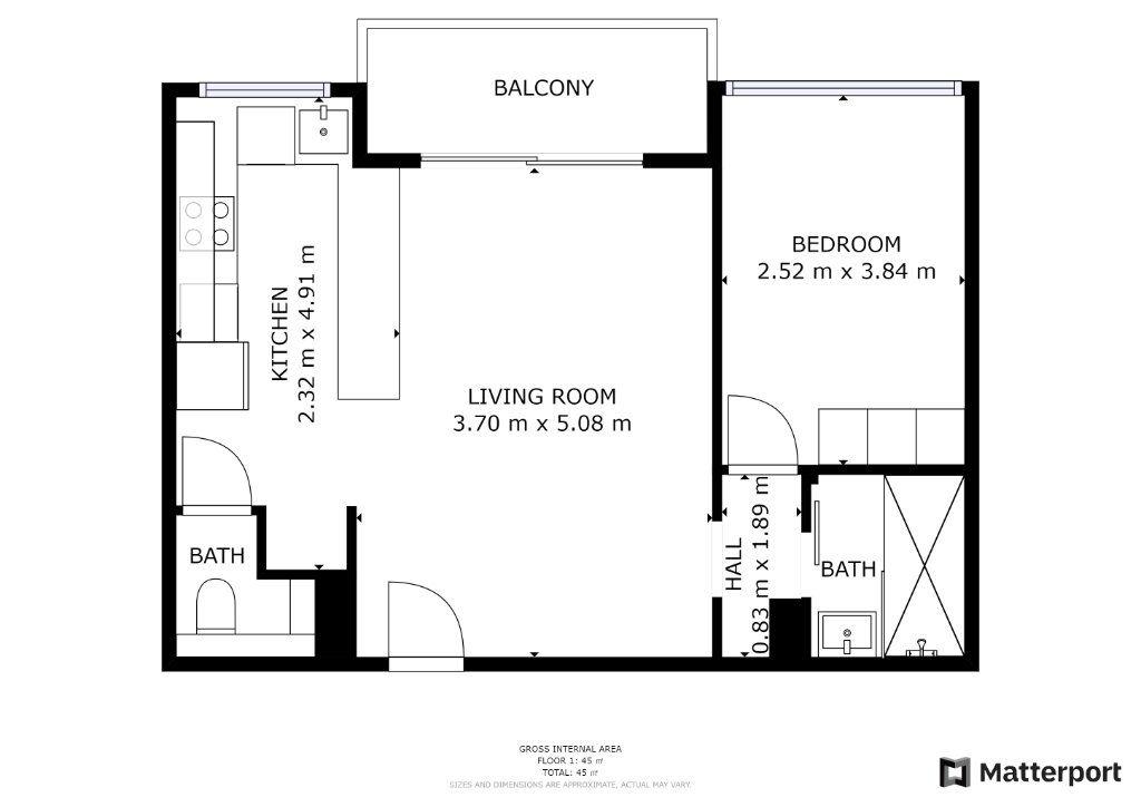 Appartement à vendre 2 42.44m2 à Juan-les-Pins - Antibes plan-1