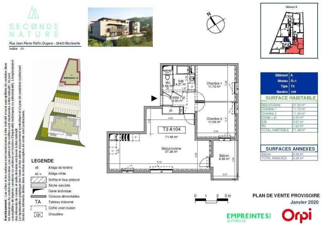 Appartement à vendre 3 72.27m2 à Murianette plan-1