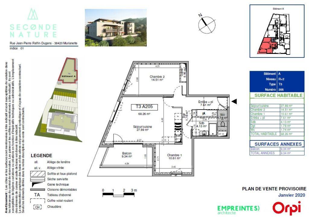 Appartement à vendre 3 68.42m2 à Murianette plan-1