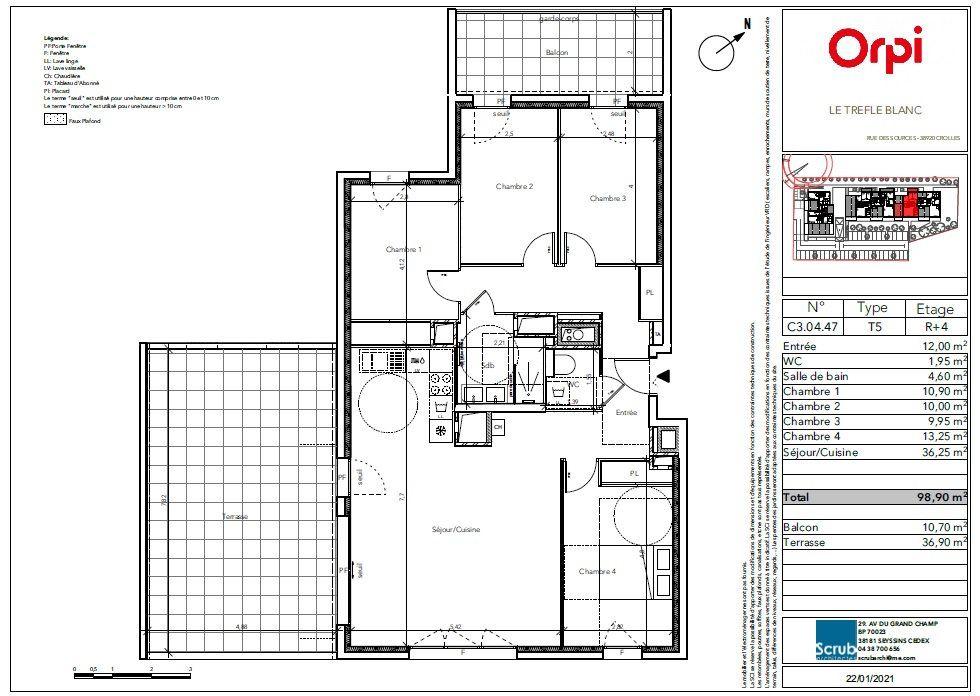 Appartement à vendre 5 98.9m2 à Crolles vignette-3