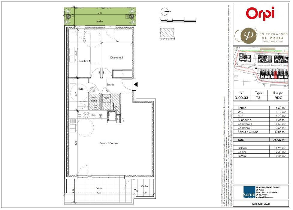 Appartement à vendre 3 75.95m2 à Seyssins vignette-3
