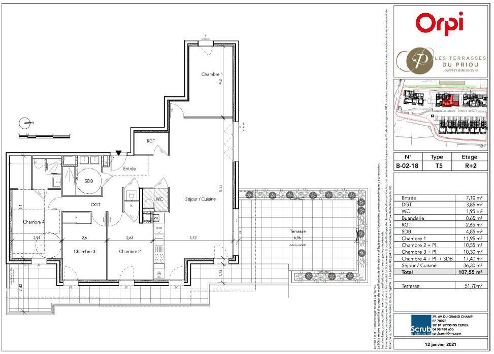 Appartement à vendre 5 107.55m2 à Seyssins vignette-2