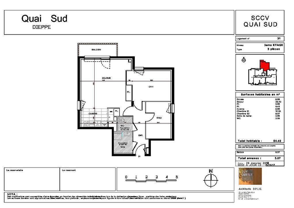 Appartement à vendre 3 64.4m2 à Dieppe plan-1