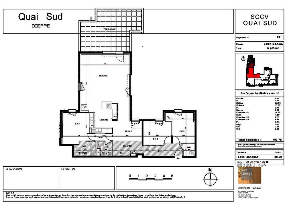 Appartement à vendre 5 109.79m2 à Dieppe plan-1