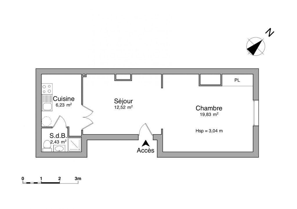 Appartement à vendre 2 48m2 à Achicourt plan-1
